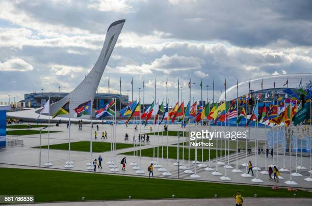 Sochi Olympic park before the Grand Opening Ceremony of 19th World Festival of Youth and Students in Bolshoy Sports Palace Sochi Russia on October 15...