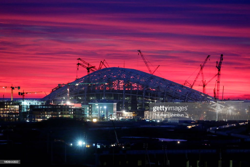 Sochi Olympic's main stadium is under construction on February 3, 2013 in Sochi, Russia. Sochi Winter Olympics begins on February 7, 2014.