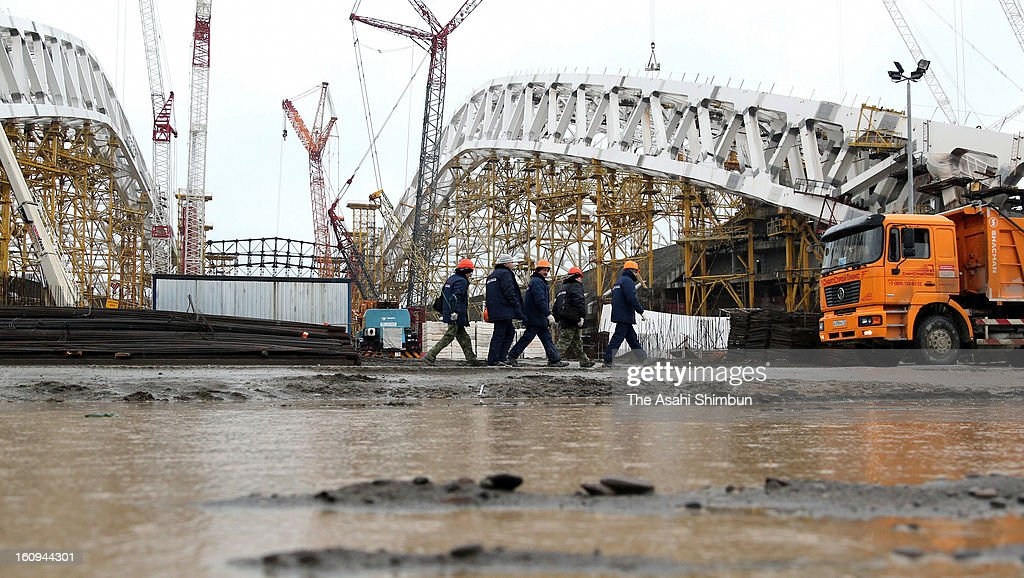 Sochi Olympic's main stadium is under construction on January 30, 2013 in Sochi, Russia. Sochi Winter Olympics begins on February 7, 2014.