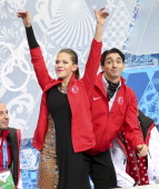 Sochi Russia February 16 SSOLY The turkish pair of Alper Ucar and Alisa Agafonova react to the crowd in the kiss and cry At the Winter Olympics in...