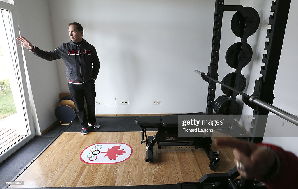 Sochi, Russia - February 4 - SSOLY-At the Winter Olympics in Sochi, Canada's Chef de Mission and former Olympic skiing medallist shows off one of the private training areas in the canadian athletes' accommodations. February 4, 2014