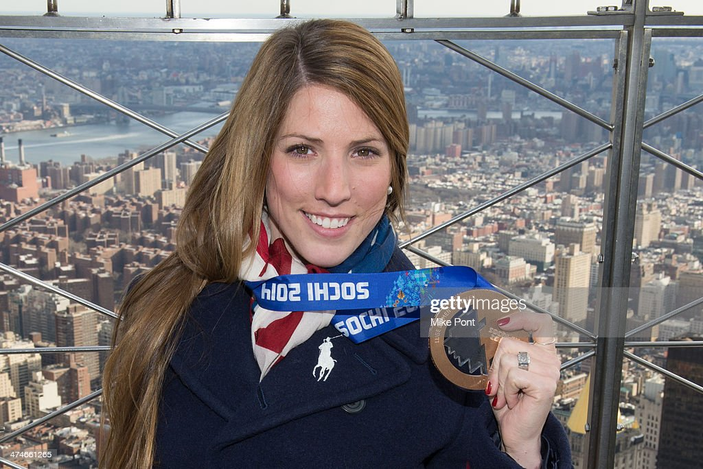 Sochi Winter Olympics Bronze Medalist American Luger Erin Hamlin visits The Empire State Building on February 24, 2014 in New York City.