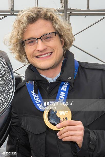 Sochi Winter Olympics Champion Ice Dancer Charlie White visits The Empire State Building on February 27 2014 in New York City