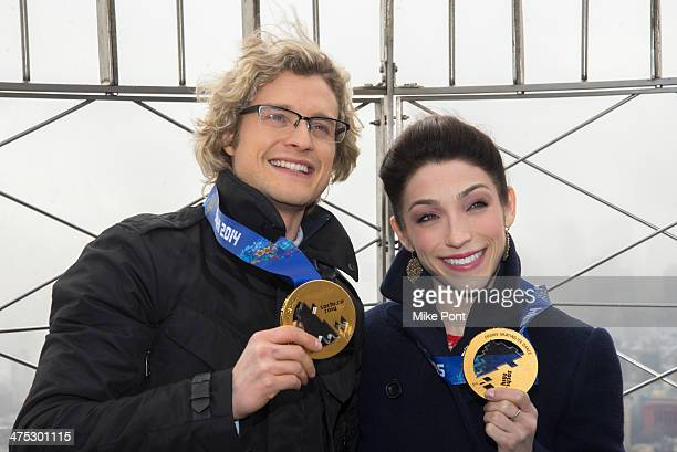 Sochi Winter Olympics Champion Ice Dancers Charlie White and Meryl Davis visit The Empire State Building on February 27 2014 in New York City