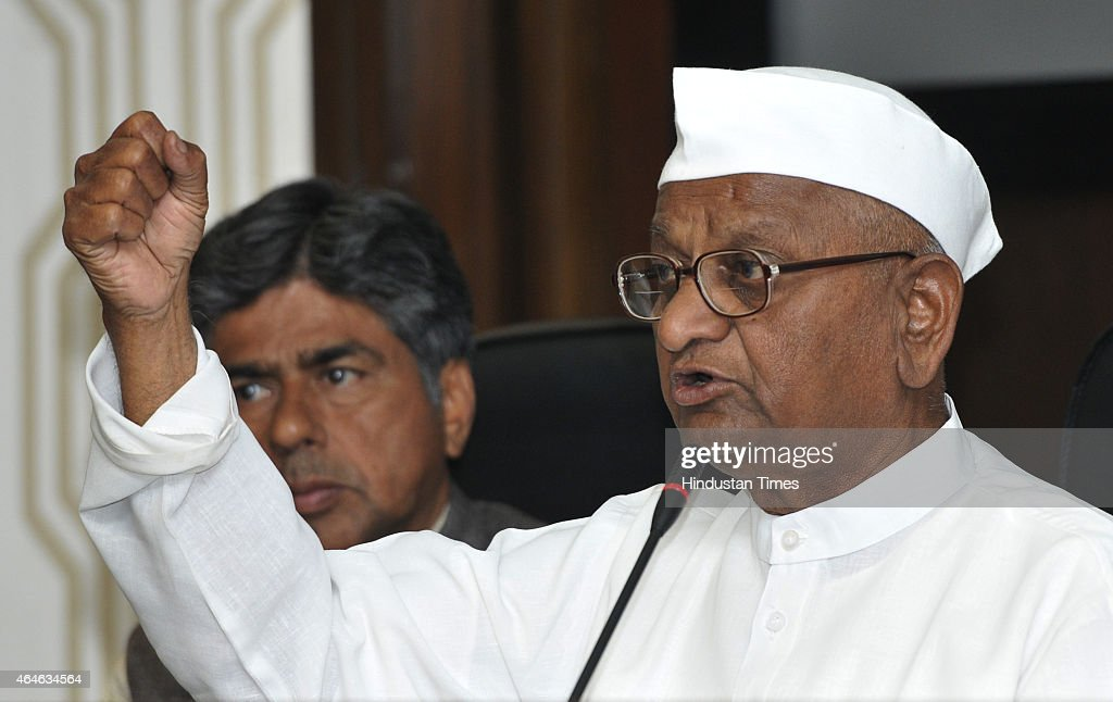 Social activist <a gi-track='captionPersonalityLinkClicked' href=/galleries/search?phrase=Anna+Hazare&family=editorial&specificpeople=5963003 ng-click='$event.stopPropagation()'>Anna Hazare</a> addresses a press conference on land accusation issue on February 27, 2015 in New Delhi, India. The 77-year-old anti-graft crusader said that he will launch a three-month long padyatra from Maharashtras Wardha to Delhi which he said would culminate with a 'jail bharo andolan' against the proposed legislation on land acquisition.