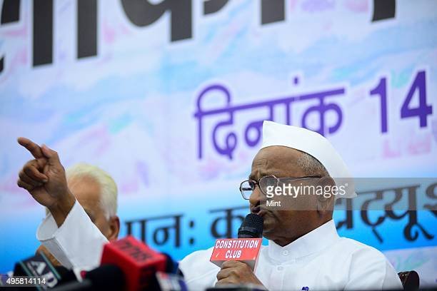 Social activist Anna Hazare addresses during a press conference at Constitution Club on March 14 2014 in New Delhi India