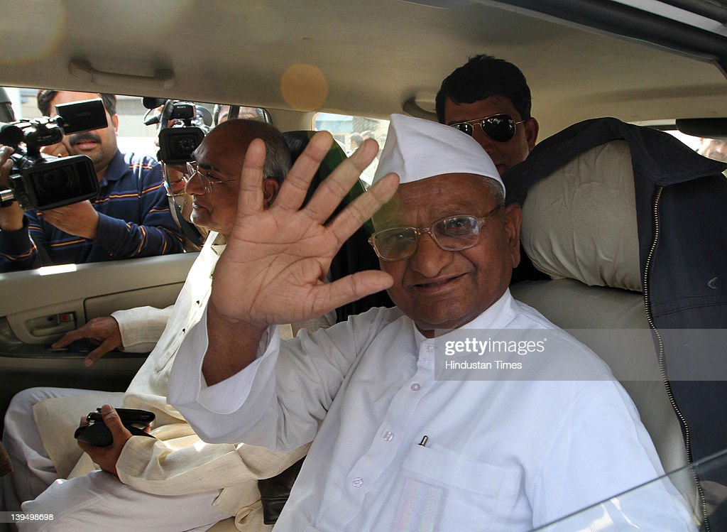 Social activist <a gi-track='captionPersonalityLinkClicked' href=/galleries/search?phrase=Anna+Hazare&family=editorial&specificpeople=5963003 ng-click='$event.stopPropagation()'>Anna Hazare</a> arrives at the airport on February 22, 2012 in New Delhi, India. Returning after getting a month-long treatment for bronchitis and other ailments in Delhi and Banglore, he said that his team will hold meetings in coming days to decide on the ways to take his movement forward. Anna will receive an award of Rs 25 lakh instituted by Sitaram Jindal Foundation for his contribution to rural development on February 23.