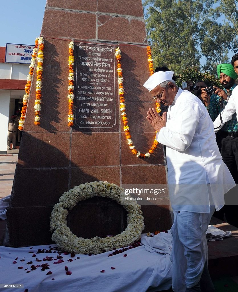 Social activist <a gi-track='captionPersonalityLinkClicked' href=/galleries/search?phrase=Anna+Hazare&family=editorial&specificpeople=5963003 ng-click='$event.stopPropagation()'>Anna Hazare</a> paying tribute to Shaheed-E-Azam Bhagat Singh at memorial in his village Khatkar Kalan to mark martyrdom day on March 23, 2015 near Jalandhar, India. Revolutionary freedom fighters Bhagat Singh, Rajguru and Sukhdev were hanged on March 23, 1931 in a Lahore prison.