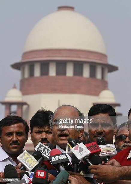 Social activist Teesta Setalvad's lawyer Prashant Bhushan talking to the media at Supreme Court of India in New Delhi on Thursday The apex Court on...