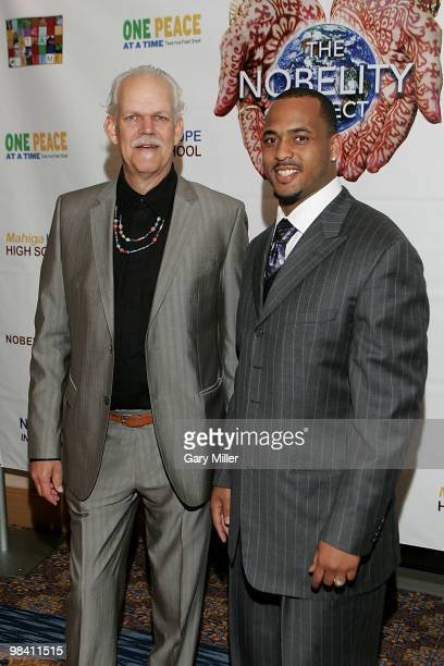 Social activist/author/filmmaker Turk Pipkin and football player Derrick Johnson of the Kansas City Chiefs pose on the red carpet for the Nobelity...