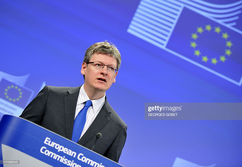 EU social affairs commissioner Laszlo Andor gives on June 26 2013 a press conference to present a progress report at the EU headquarters in Brussels...