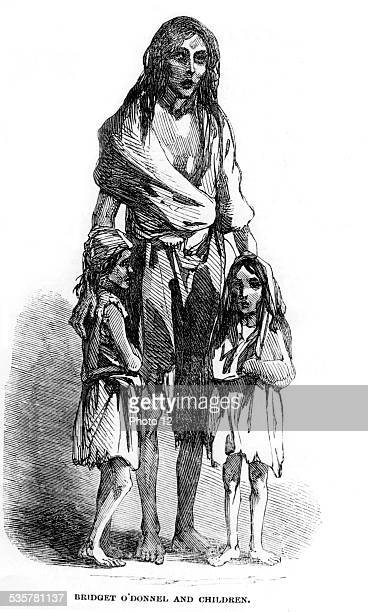 famine and misery Bridget O'Donnel and her children in 'Illustrated London News' Ireland