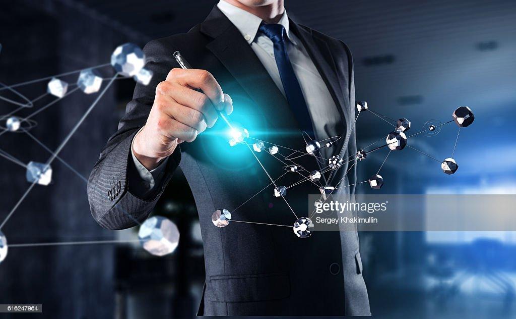 Concepto de conexión Social. Medios mixtos : Foto de stock