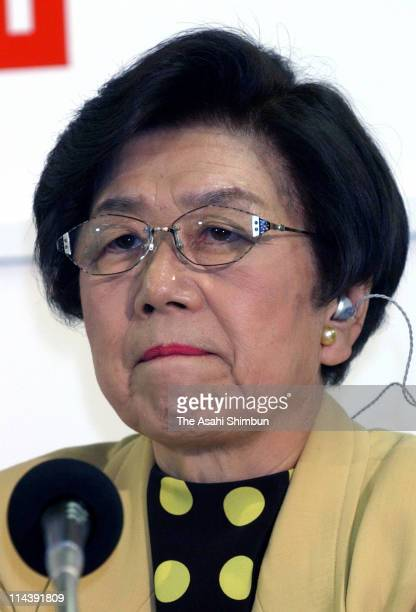 Social Democratic Party President Takako Doi speaks during the press conference on the result of the general election at the SDP headquarters on...