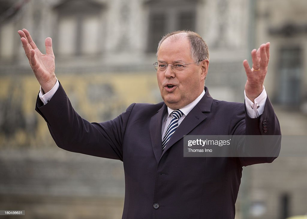 Social Democrats (SPD) chancellor candidate Peer Steinbrueck speaks during a campaign event on September 12, 2013 in Dresden, Germany. Germany is facing federal elections scheduled for September 22 and a wide spectrum of political parties is vying for votes.