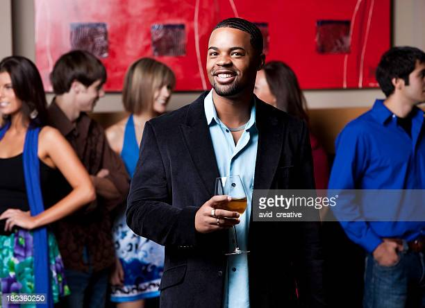 Social Gathering: Happy African American Male