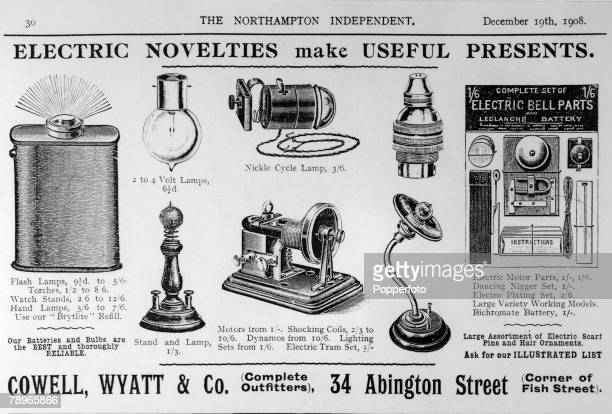 Social History Advertising Northampton Northamptonshire England pic 19th December 1908 An advert in the Northampton Independent showing Electric...