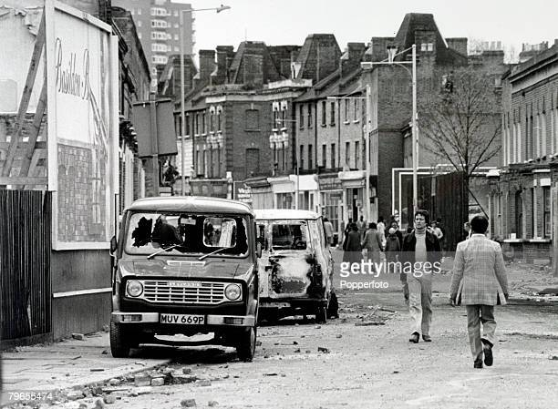 12th April 1981 A street in Brixton south London after a night of severe riots