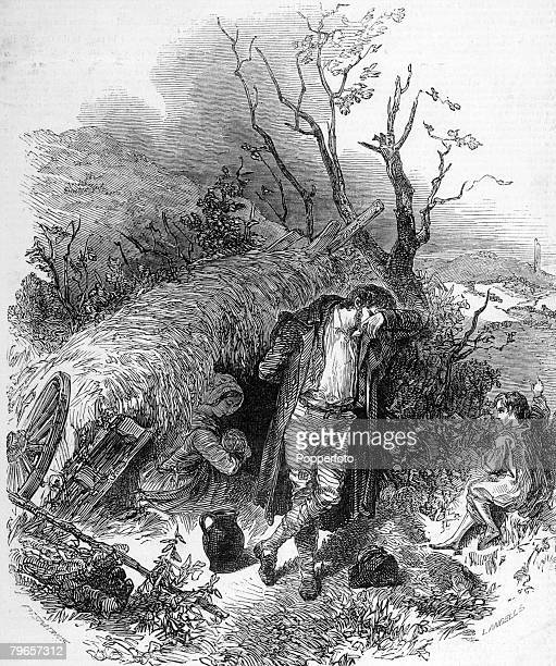 Social History Ireland An illustration showing the evictions of peasants during the winter of 1848 A family shelter beneath a hedge