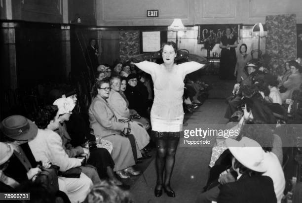 circa 1940's Northampton Northamptonshire England A corset is modelled at a local fashion show
