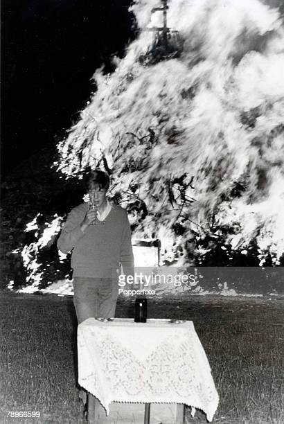 29th July 1981 Althorp House Northamptonshire England Lord Althorp drinking a toast after lighting the beacon at Brington in celebration of his...