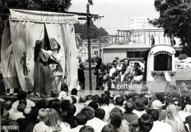 Social History San Francisco California USA 1st July 1967 The San Francisco Mime troupe entertains people in HaightAshbury