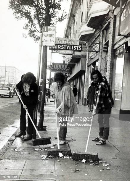 Social History San Francisco California USA 1st July 1967 Three 'hippie' children sweep down Haight Street centre of the the famed HaightAshbury...
