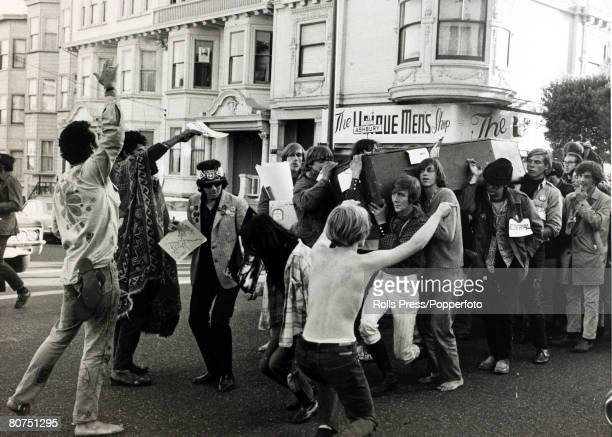 Social History San Francisco California USA 6th October 1967 More than 100 hippies hold rites celebrating the 'Death of the Hippie' as they parade...