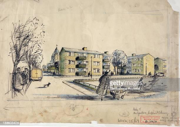 Social housing pen and wash sketch Hugh Casson 19481952