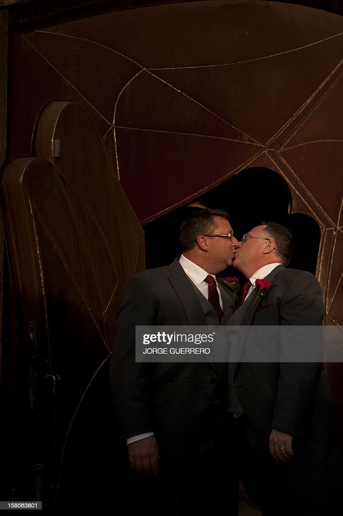 Social inclusion minister in the state government of South Australia Ian Hunter (R) and Leith Semmens kiss during their wedding in Jun, near Granada on December 19, 2012. Hunter and his partner have come from Adelaide to tie the knot in Jun.