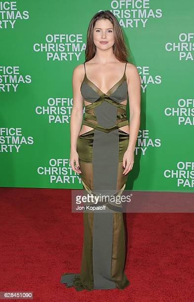 Social influencer Amanda Cerny arrives at the Los Angeles Premiere 'Office Christmas Party' at Regency Village Theatre on December 7 2016 in Westwood...