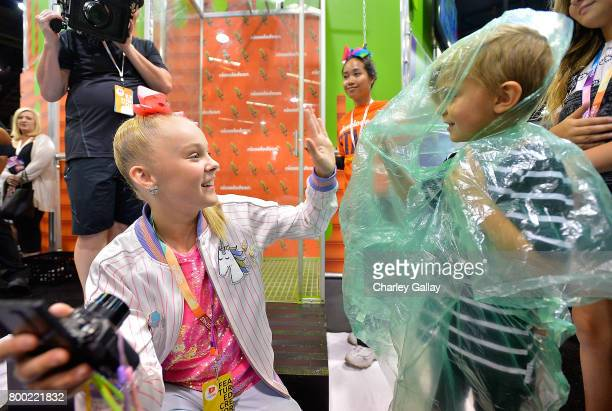 Social Influencer Nickelodeon Star JoJo Siwa attends the Nickelodeon Booth at VidCon 2017 at the Anaheim Convention Center on June 23 2017 in Anaheim...