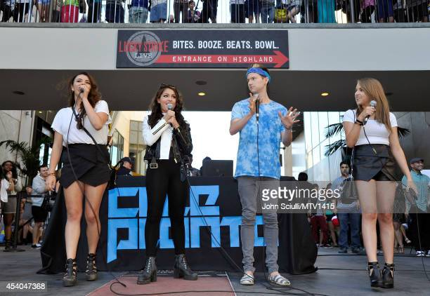 Social influencers Rebecca Black Andrea Russett Ricky Dillon and Jenn McAllister attend the VMA Pop Up with Fifth Harmony at Hollywood and Highland...
