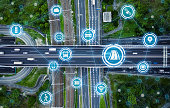 Social infrastructure and communication technology concept. IoT(Internet of Things). Autonomous transportation. Misato junction.
