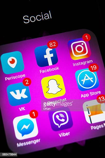 Social media applications icons with new Instagram icons