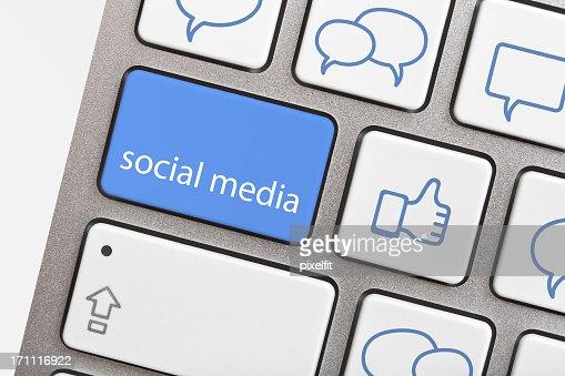 Social media button on modern keyboard