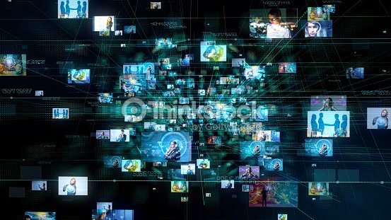 Social media concept. Technological abstract background. : Stock Photo