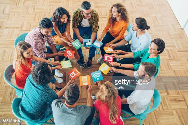 Social media concept with large group of people