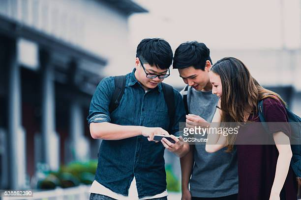 Soziale Medien könnte Spaß, eine Gruppe von Studenten in Japan