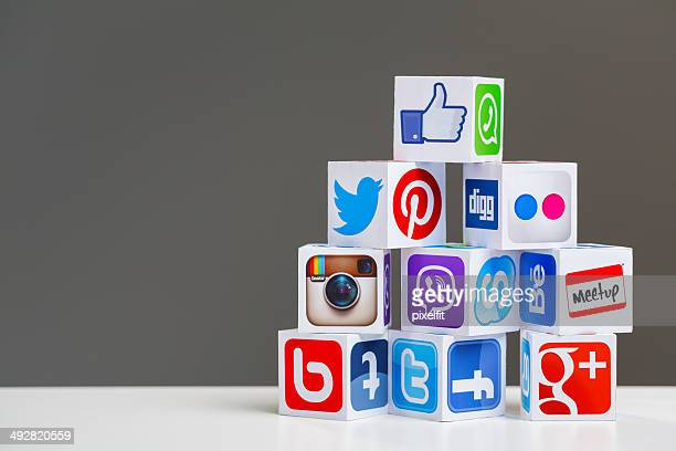 Social media cubes with copy space