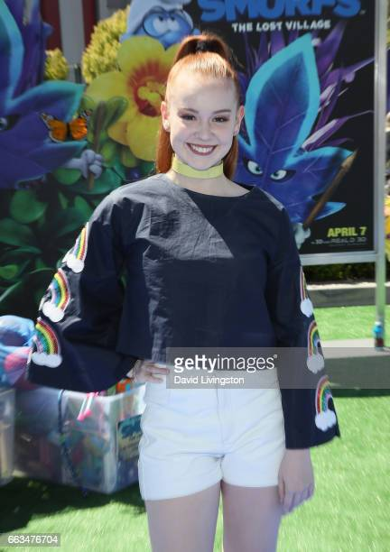 Social media inflencer Ashleigh Ross attends the premiere of Sony Pictures' 'Smurfs The Lost Village' at ArcLight Cinemas on April 1 2017 in Culver...