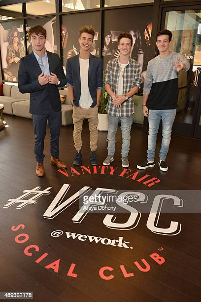 Social media influencers Brent Rivera Wesley Stromberg Christian Collins Crawford Collins and Aaron Carpenter pose during Vanity Fair Social Club's...