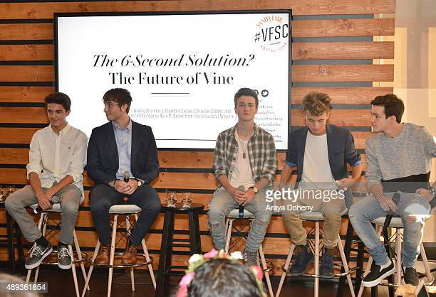 Social media influencers Brent Rivera Wesley Stromberg Crawford Collins Christian Collins and Aaron Carpenter speak onstage during Vanity Fair Social...
