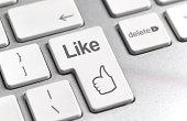 Social media 'Like' symbol on keyboard