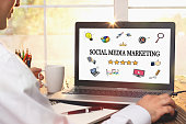 Social Media Marketing Concept on Laptop Computer Screen