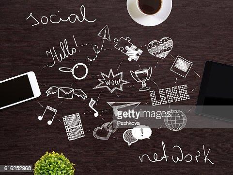 Conceito de rede Social : Foto de stock