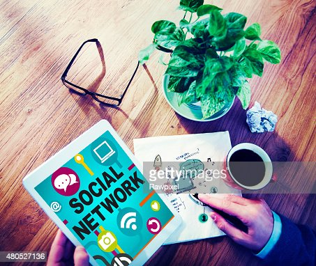Social Network Internet Online Society Connecting Social Media C : Stock Photo