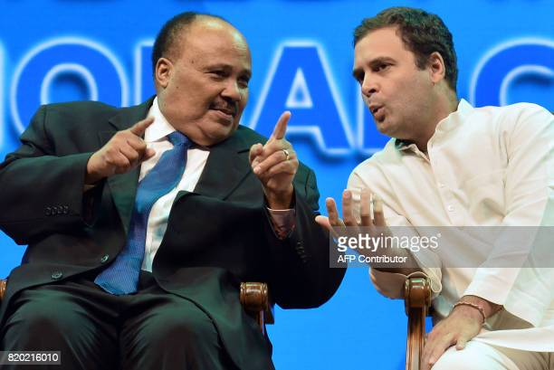 Social Reformer Martin Luther King III and Vice President of Indian National Congress Rahul Gandhi talk during the inaugural event of the Dr BR...