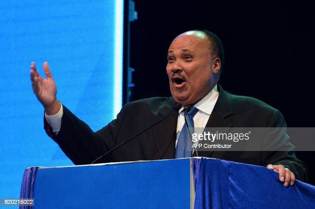 Social reformer Martin Luther King III speaks during the inaugural event of the Dr BR Ambedkar International Conference 2017 in Bangalore on July 21...