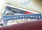 """American Visa and Social Security Card with '""""Valid for work only with DHS authorisation""""'"""